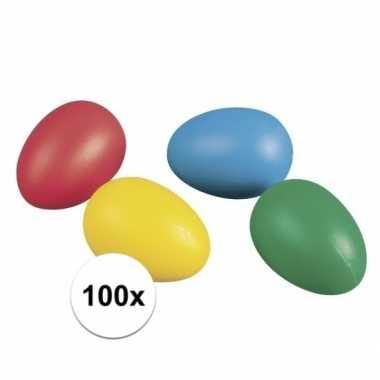 100 plastic paaseieren in leuke kleuren