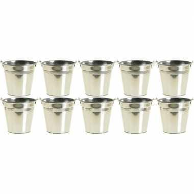 10x kleine zinken emmertjes/bloempotjes zilver 9 cm hoog