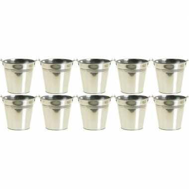 10x zinken emmertjes/bloempotjes zilver 15 cm hoog