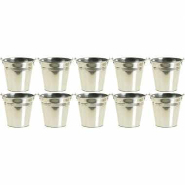 10x zinken emmertjes/bloempotjes zilver 16 cm hoog