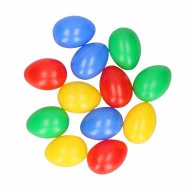 12 plastic paaseieren in leuke kleuren