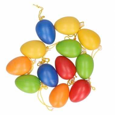 12x gekleurde plastic eieren 4,5 cm pasen hangdecoratie