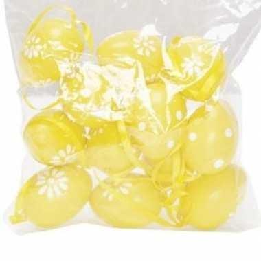 12x gele paastakken decoratie eieren stippen/bloemen 4 cm