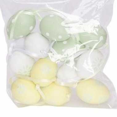 12x pastel paastakken decoratie eieren geel/groen/wit 4 cm