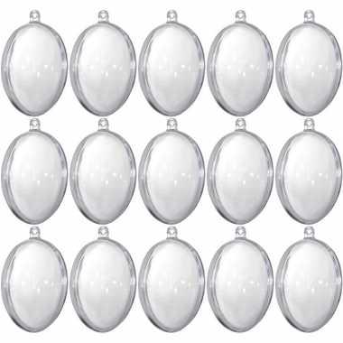15x transparante eitjes 6 cm om mee te knutselen