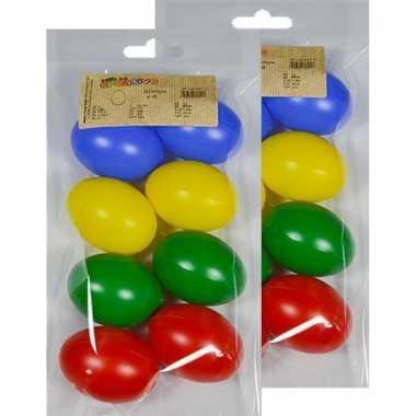 16x gekleurde eitjes 6 cm om mee te knutselen