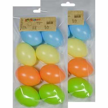 16x gekleurde eitjes pastel 6 cm om mee te knutselen