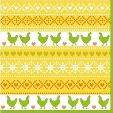20x pasen thema feest servetjes 33 x 33 cm kip print geel/oranje/groe