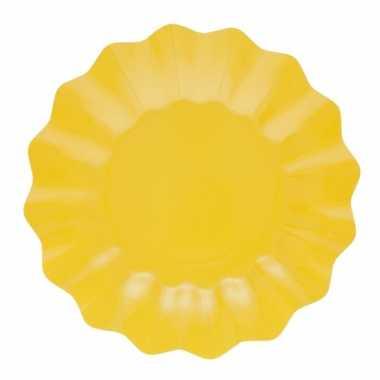 24x diepe kartonnen bordjes geel 21 cm