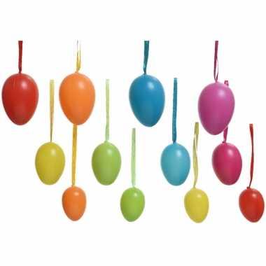 24x gekleurde plastic/kunststof eieren/paaseieren 6 cm