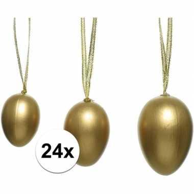 24x paastakken decoratie eieren/eitjes 4 5 6 cm goud