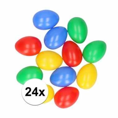 24x plastic paaseieren in leuke kleuren