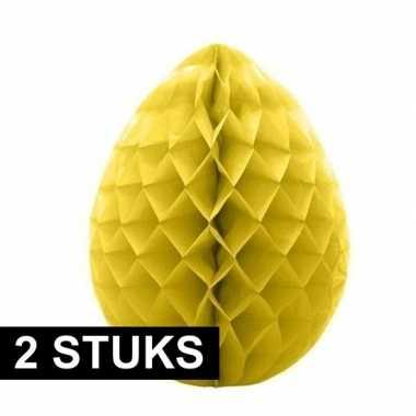 2x deco honeycomb paaseieren geel 10 cm