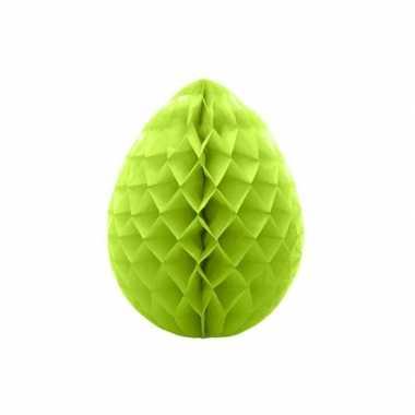 2x deco honeycomb paaseieren groen 10 cm