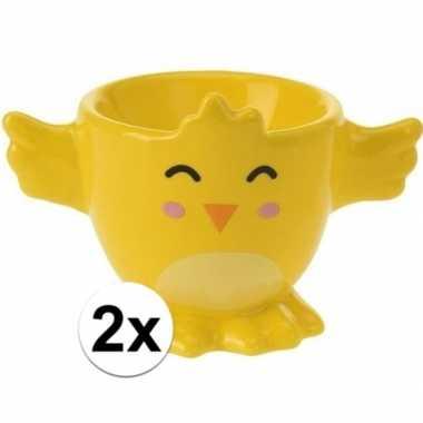 2x eierdopje gele kuiken/kip 7 cm