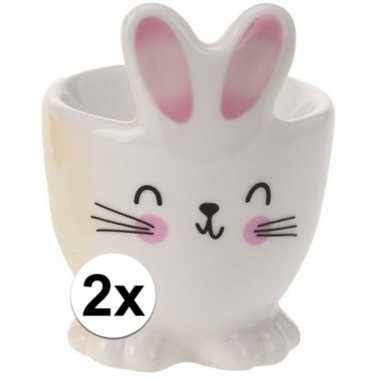 2x eierdopje witte paashaas/konijn 7 cm