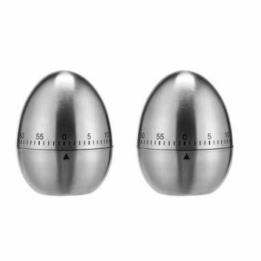 2x rvs kookwekkers / eierwekkers in ei vorm 7,5 cm