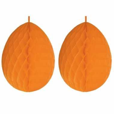 2x stuks hangdecoratie honeycomb paaseieren oranje van papier 30 cm