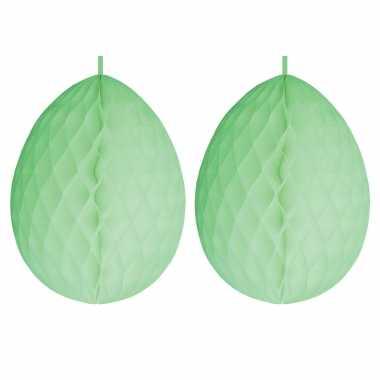 2x stuks hangdecoratie honeycomb paaseieren pastel groen van papier 30 cm
