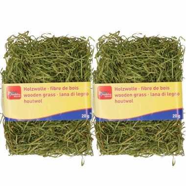 2x zakjes groen kleur houtwol 20 gram vulmateriaal/vulling