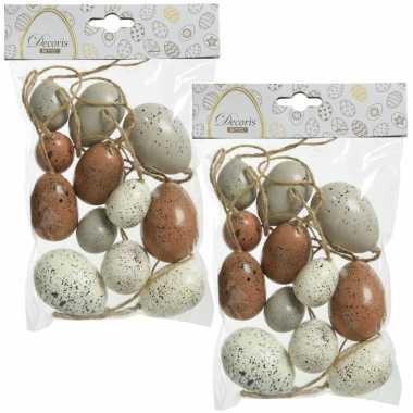 36x stuks kunststof vogel eieren/paaseieren 4/5/6 cm