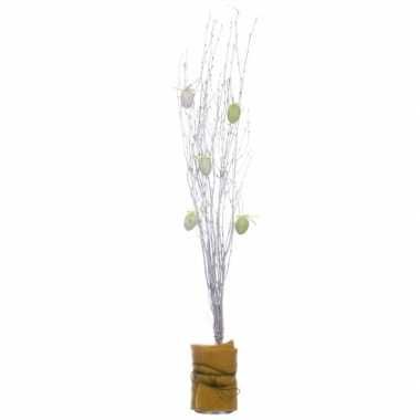 3x bosjes witte paastakken 115 cm berkentakken/kunsttakken