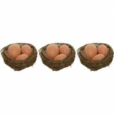 3x decoratie paasnestjes met naturel/bruine eitjes 10 cm