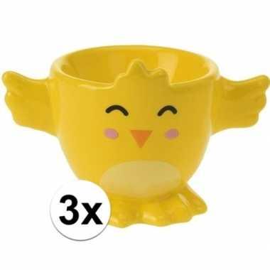 3x eierdopje gele kuiken/kip 7 cm