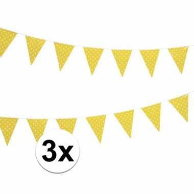 3x gele feest vlaggenlijn met witte stippen 4 m