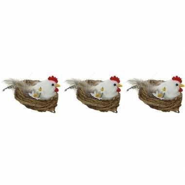 3x paasdecoratie witte kippen in nest 8 cm dierenbeelden