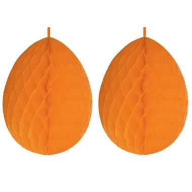 3x stuks hangdecoratie honeycomb paaseieren oranje van papier 30 cm