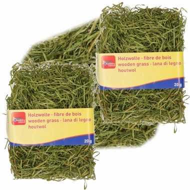3x zakjes groen kleur houtwol 20 gram vulmateriaal/vulling