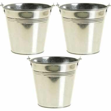 3x zinken emmertjes/bloempotjes zilver 15 cm hoog