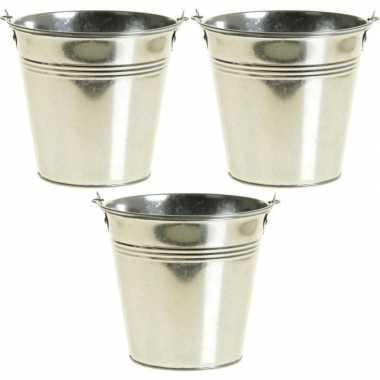 3x zinken emmertjes/bloempotjes zilver 9 cm hoog