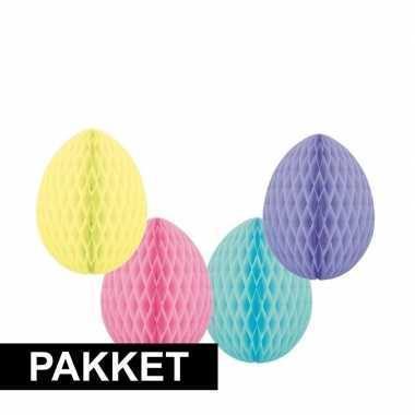 4 pastel gekleurde decoratie paaseieren