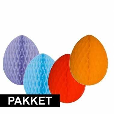 4 vrolijk gekleurde decoratie paaseieren groot