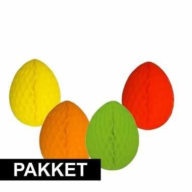 4 vrolijk gekleurde decoratie paaseieren
