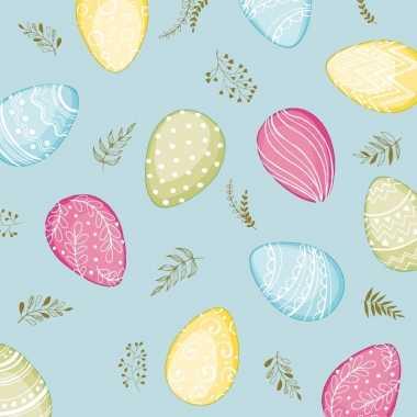 40x pasen thema feest servetjes 33 x 33 cm eieren print lichtblauw/ge