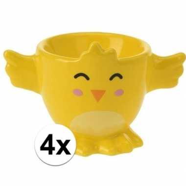 4x eierdopje gele kuiken/kip 7 cm