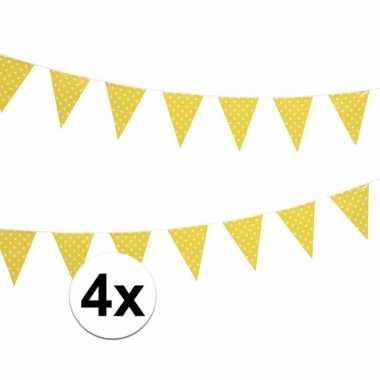 4x gele feest vlaggenlijn met witte stippen 4 m