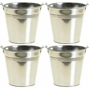 4x kleine zinken emmertjes/bloempotjes zilver 9 cm hoog