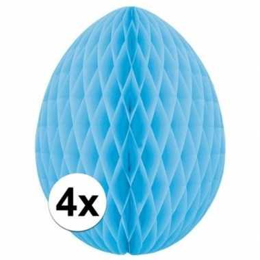 4x lichtblauwe decoratie paasei 20 cm brandvertragend