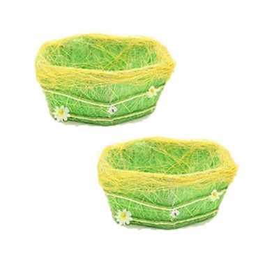 4x stuks paasdecoratie gras mandje groen 18 cm
