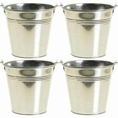 4x zinken emmertjes/bloempotjes zilver 12 cm hoog