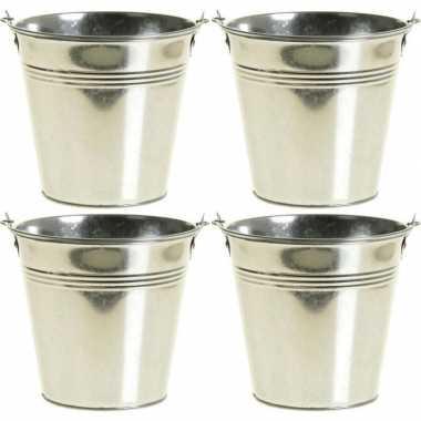 4x zinken emmertjes/bloempotjes zilver 15 cm hoog