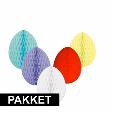5 vrolijk gekleurde decoratie paaseieren groot 10103788
