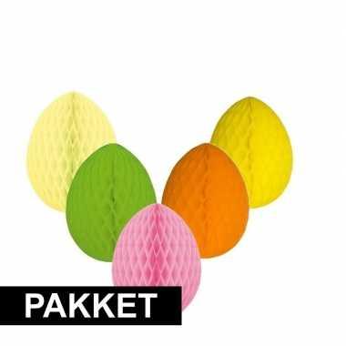 5 vrolijk gekleurde decoratie paaseieren groot