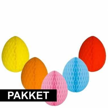 5 vrolijk gekleurde decoratie paaseieren
