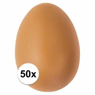 50x bruin ei plastic 6 cm