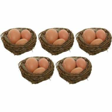 5x decoratie paasnestjes met naturel/bruine eitjes 10 cm
